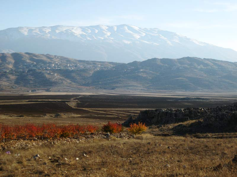 Contested by nation states: The Hermon mountain range (jabbal ash-shaykh) in the midst of Druze settlement areas. Photo taken in the southern Biqāʿ plain, Lebanon. Photo: Gebhard Fartacek, 2016.